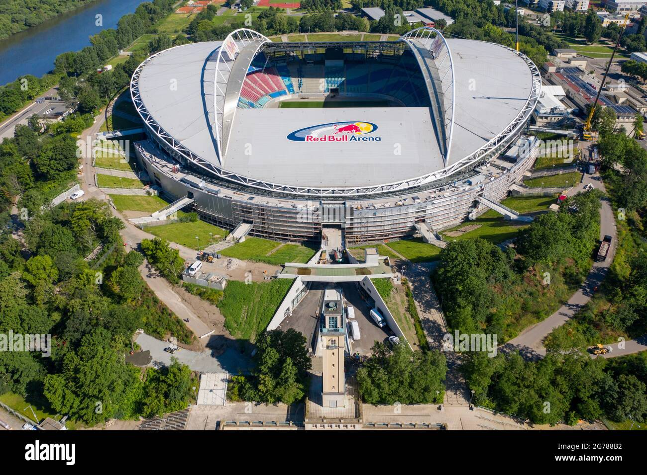 No new stadium then, just an expansion of what's already available at the stadium. 14 June 2021 Saxony Leipzig Two Cranes Stand At The Red Bull Arena Rb Leipzig S Home Ground Is Being Rebuilt The Spectator Capacity Increases From 42 558 To 47 069 Standing And Seated The