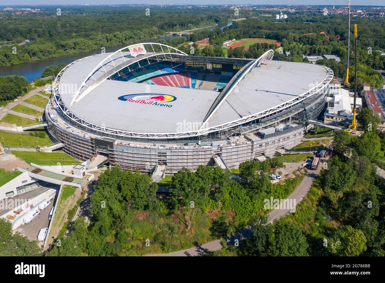 The original plan was to expand red bull arena from 42,558 to 52,000 seats. 14 June 2021 Saxony Leipzig Two Cranes Stand At The Red Bull Arena Rb Leipzig S Home Ground Is Being Rebuilt The Spectator Capacity Increases From 42 558 To 47 069 Standing And Seated The