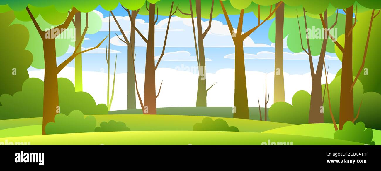 Large tree in a dense forest in a summer day. Forest Landscape Dense Wild Trees With Tall Branched Trunks Summer Green Landscape Flat Design Cartoon Style Vector Stock Vector Image Art Alamy
