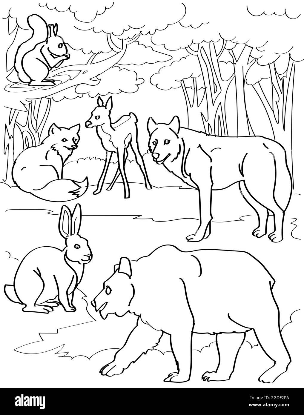 I can already animate and draw in flash, but i dont know how to draw an anyglyph. Different Forest Creatures Deer Fox Wolf Bear Rabbit With Tree Background Line Drawing Multiple Wild Animals In Jungle Backdrop Coloring Book Page Stock Vector Image Art Alamy