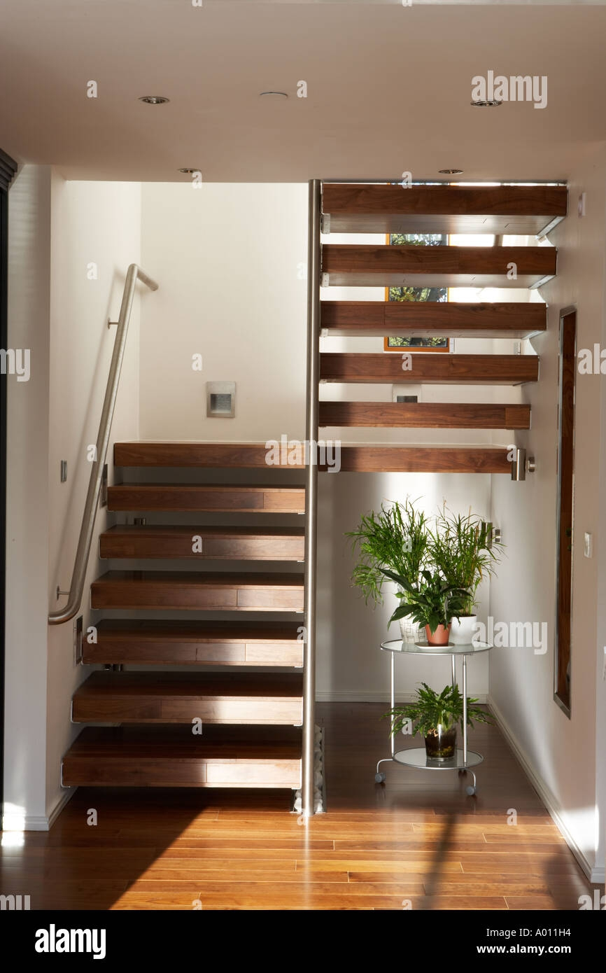 Modern House Stairway Stock Photo Alamy | House Steps Design Inside | Gallery | Front | In House Construction | Stair Decoration | Grill