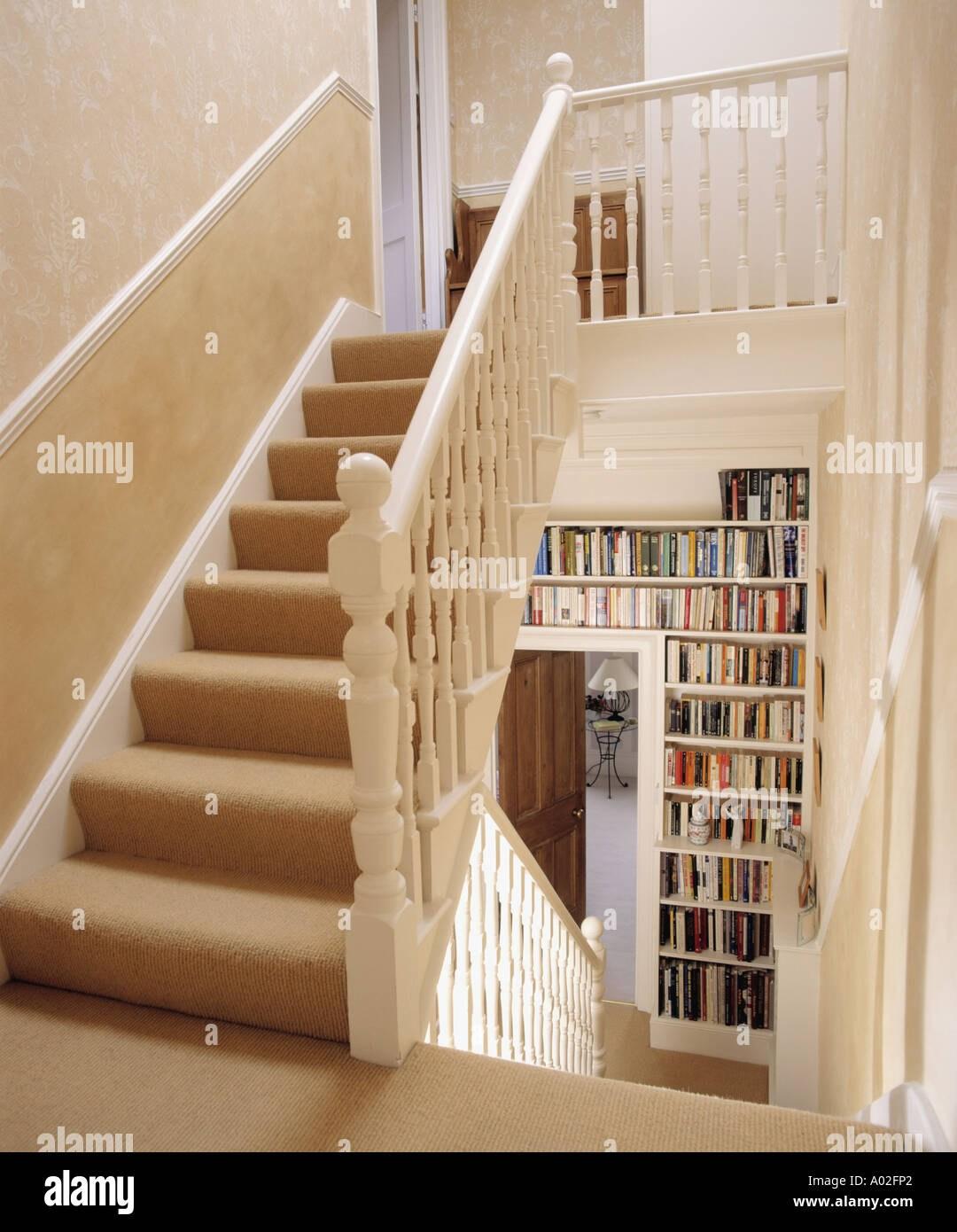 Cream Carpet On Landing Stairs Above Hall With Fitted Bookshelves | Hall Stairs Landing Carpet | Colour | Stair Turn | Wood Floor Hallway Str*P | Twist Pile | Runners