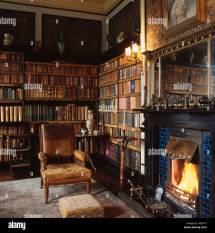 Old Home Library with Fireplace