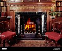 Grand old fireplace in British country house Stock Photo ...