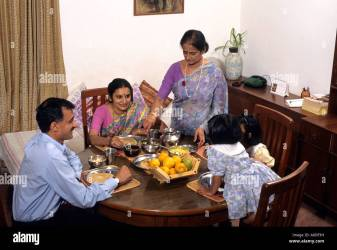 middle class indian meal grandmother alamy