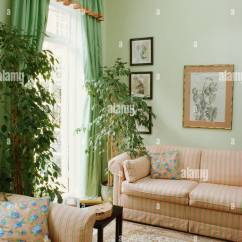 Green Curtains For Living Room Showcases Designs Tall Houseplants And Pale Edged With Peach In Striped Colored Sofa Armchair