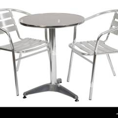 Outdoor Aluminium Table And Chairs Discount Patio Metal Cafe Two Stock Photo