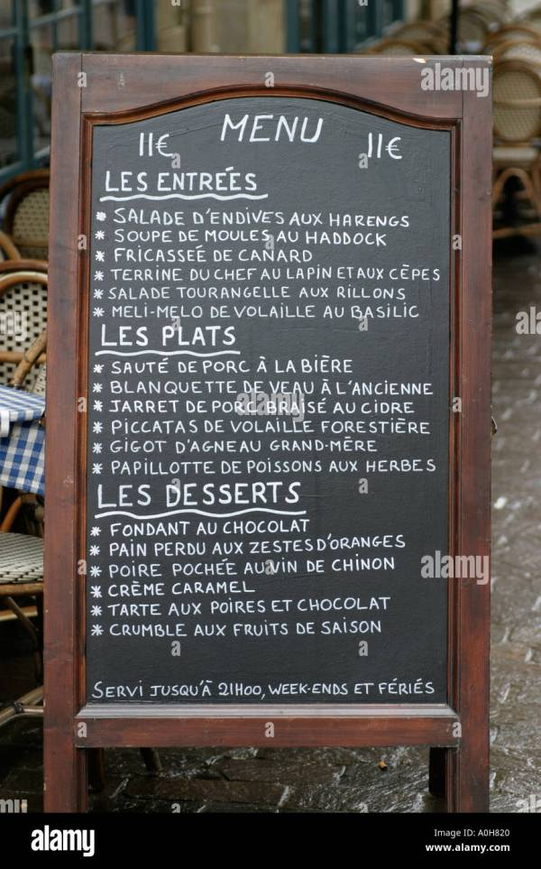 French Restaurant Chalkboard Menus