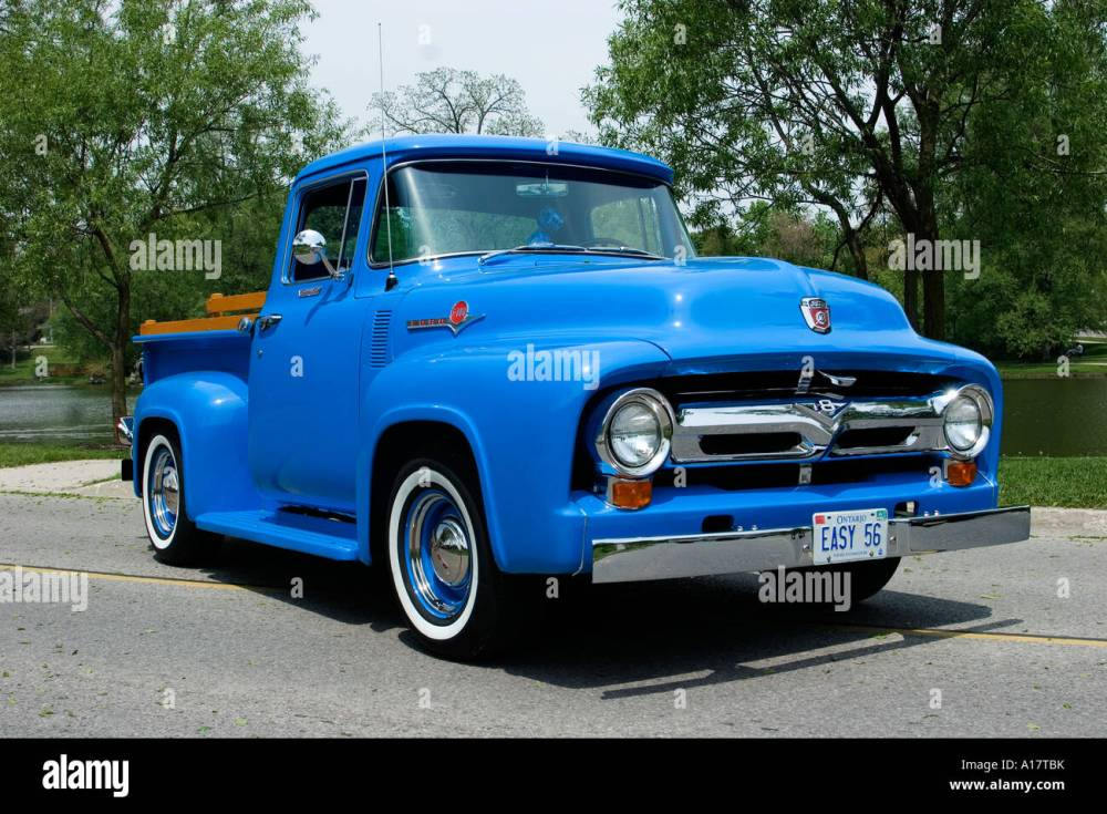 medium resolution of 1956 ford f100 custom cab pickup truck on pavement stock image