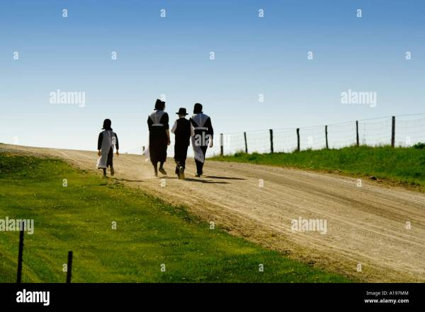 Amish Family Walking On Road