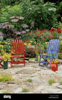 Whimsical Multi-colored Garden With Brightly Colored