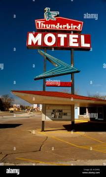 Thunderbird Motel Sign Miami Oklahoma Usa Stock