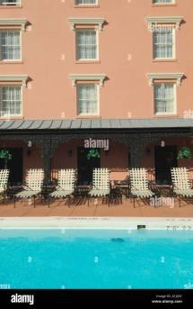 Empty Hotel Swimming Pool Stock &