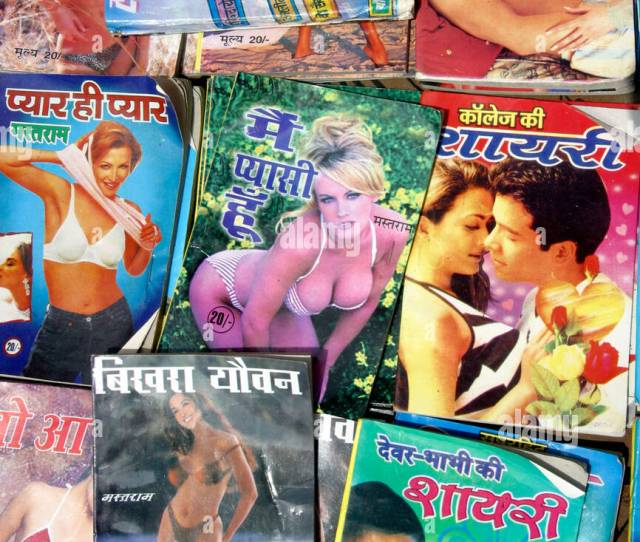 A Group Of Indian Sex Magazines On Display At A Street Stall In New Delhi In India