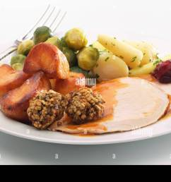 plate of christmas dinner with turkey stuffing roast potatoes sprouts gravy and cranberry sauce [ 1300 x 954 Pixel ]