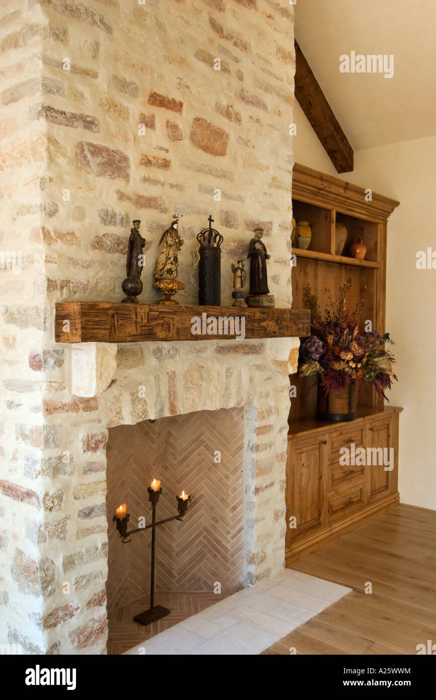 HARD WOOD FLOOR STONE FIREPLACE built in CABINETS and