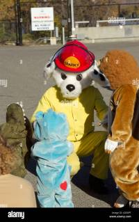 Sparky the Fire Dog with little kids in halloween costumes ...
