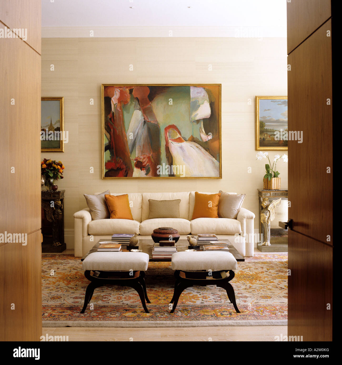 sofa paintings abstract two tone leather and microfiber artwork above coffee table in london
