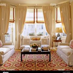 Bay Window Sofa Seating Air Bed Amazon Large Living Room With Three Sofas, Patterned Carpet And ...