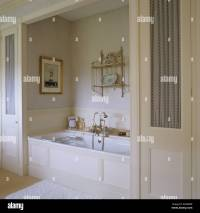 english country bathroom alcove with bath in bathroom of ...