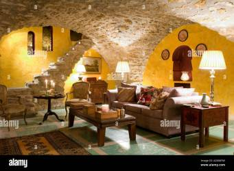 Sitting room with vaulted ceiling in French medieval villa Stock Photo Alamy