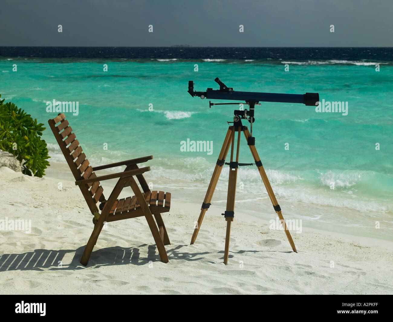 Telescope Beach Chair Chair And Telescope On A Tropical Beach In The Maldives Stock
