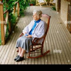 Old Lady Chair Plastic Folding Woman Rocking Stock Photos And