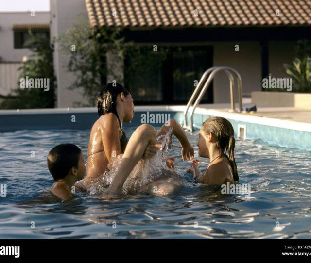 Ex Pat Children Playing In Swimming Pool Saudi Arabia 1980