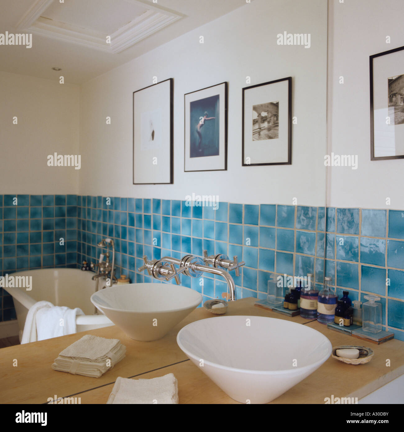 https www alamy com stock photo contemporary wash basin in front of mirror in bathroom with turquoise 10629278 html