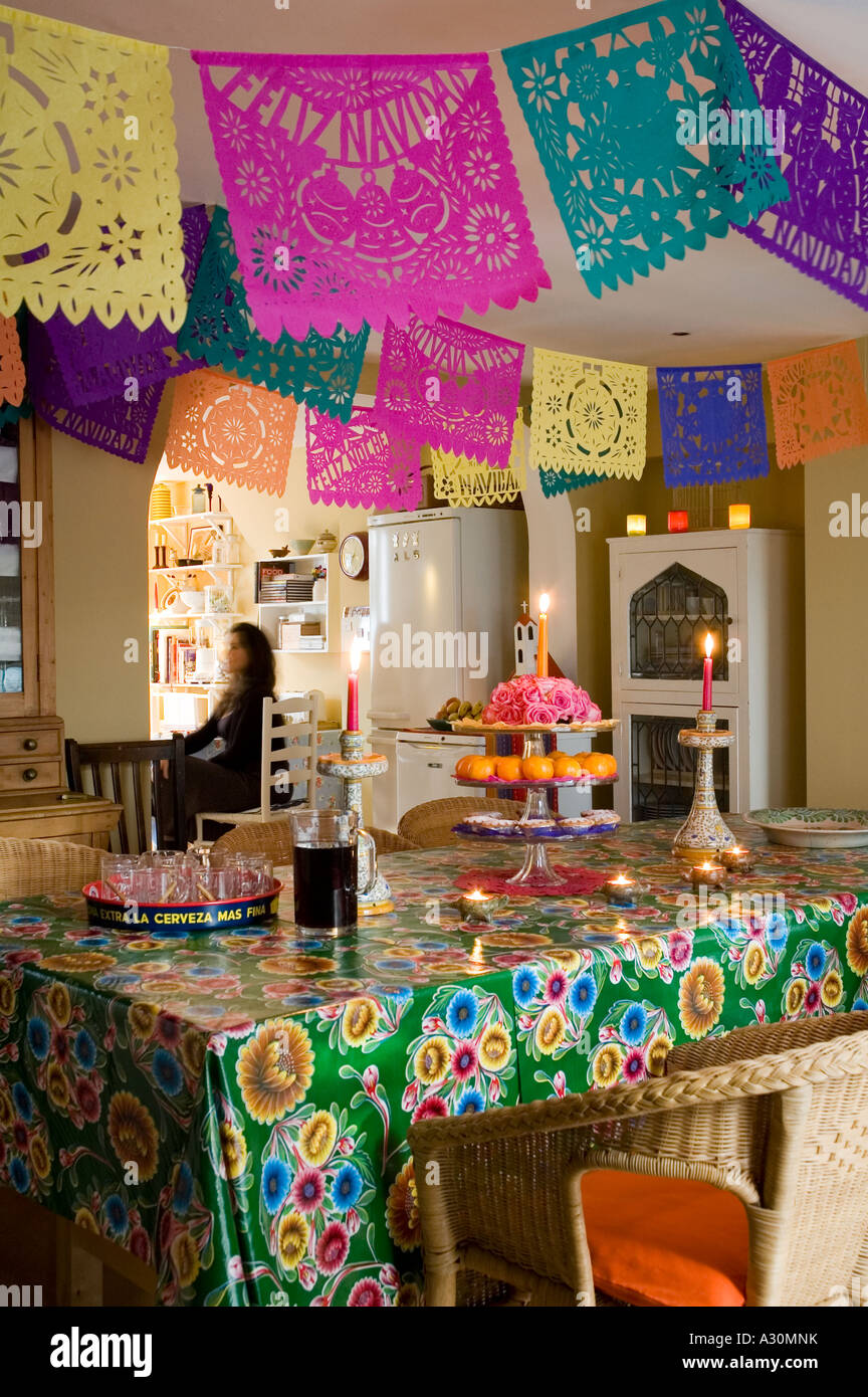 mexican christmas decorations in kitchen of a victorian house in london