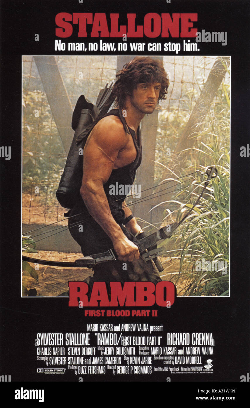 RAMBO FIRST BLOOD PART II poster for 1985 Anabasis film ...