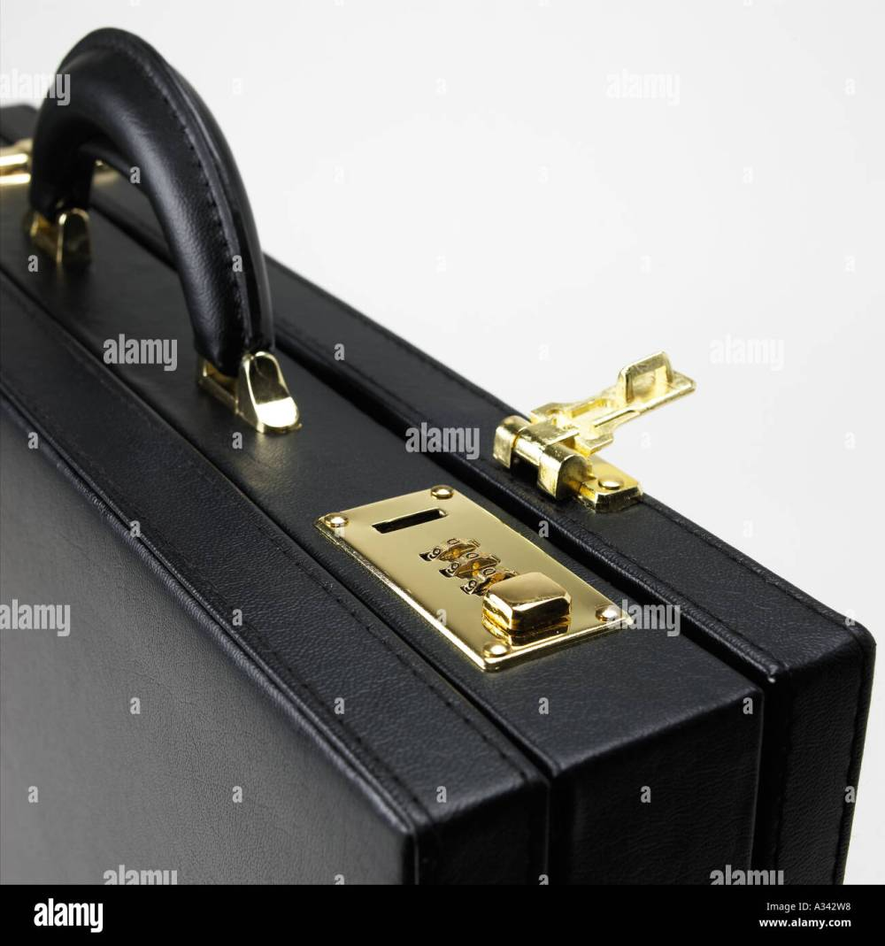 medium resolution of black briefcase with combination lock open stock image