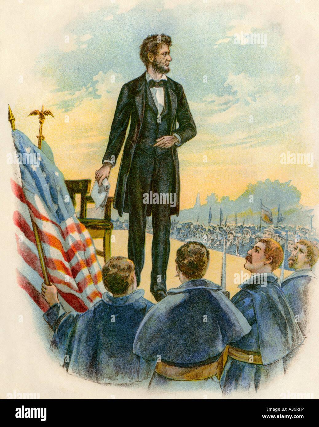 President Abraham Lincoln Delivering The Gettysburg