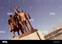 Juche Tower Night Statues