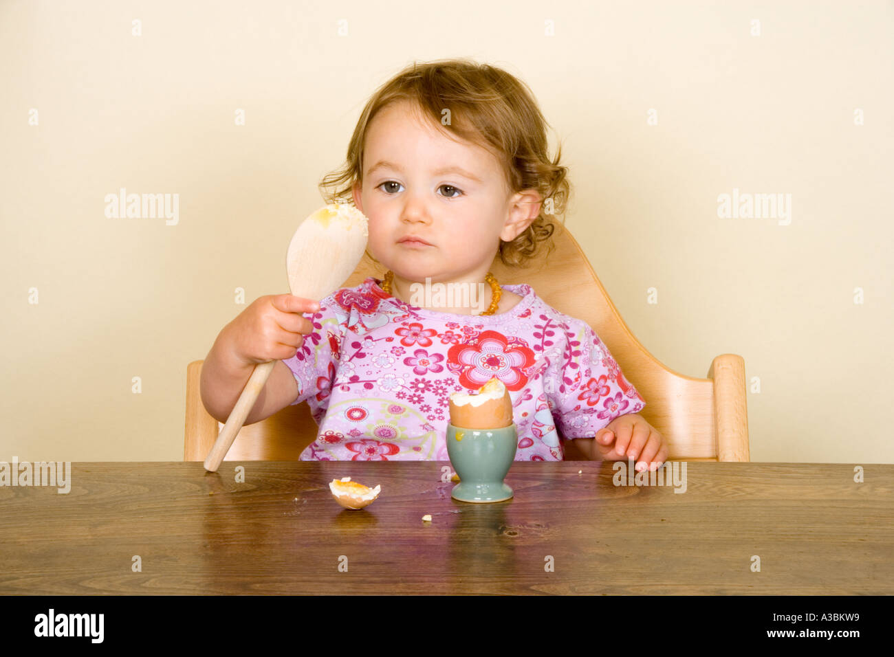 Egg Baby High Chair Baby Eating Boiled Egg In High Chair Stock Photo 6134232 Alamy