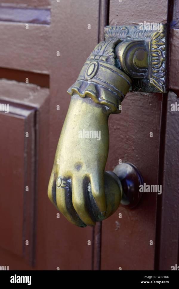 Traditional Antique Brass Hand And Ball Door Knocker