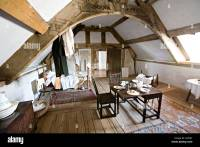 Wooden beams in gable bedroom of house Plas Mawr Conwy ...