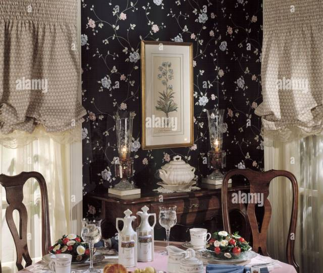 Formal Dining Room Table Chairs Wall Wallpaper Drapes  Two Bentwood Chairs Soup Tureen Drapes Curtains