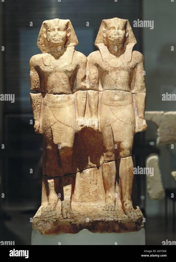 Fine Arts Ancient World Egypt Kingdom Sculpture Double Stock Royalty Free