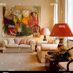 Above Sofa Artwork Round Lounge Large Abstract Painting Cream In Upmarket