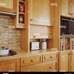 Roll Up Cabinet Doors Kitchen Double Sink With Drainboard Interiors Kitchens Details Cupboards Stock Photos