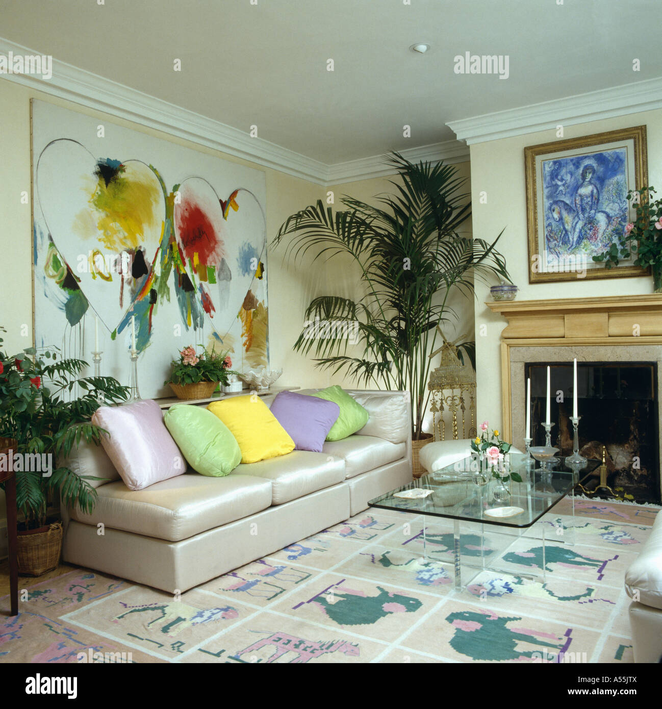 sofa paintings abstract forest blackburn large painting above cream silk with pastel
