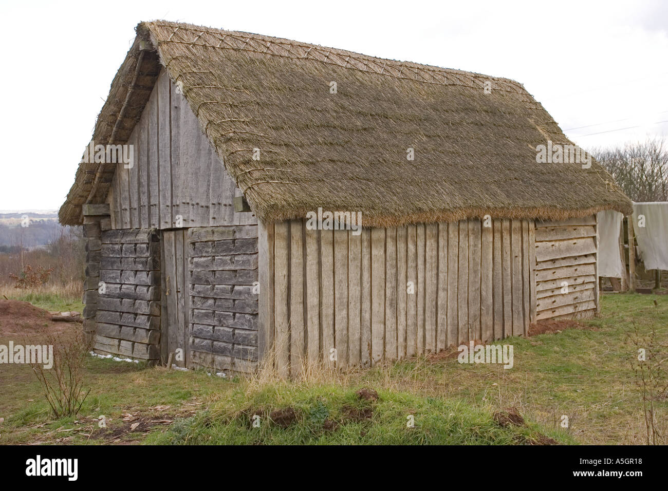 Anglo Saxon House Built Of Timber With Thatched Roof And
