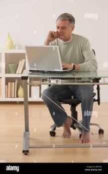 Mature Adult Male Bare Feet Stock &