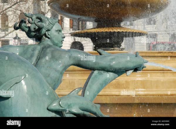 Close Of Mermaid And Fish Statue In Trafalgar Square Fountain Stock 11468101 - Alamy
