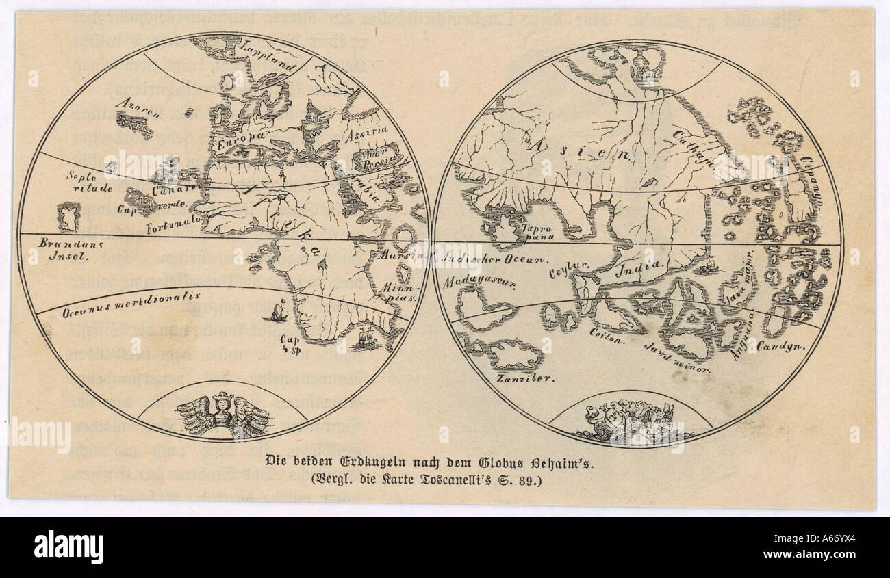 World Map Behaim 1492 Stock Photo Alamy