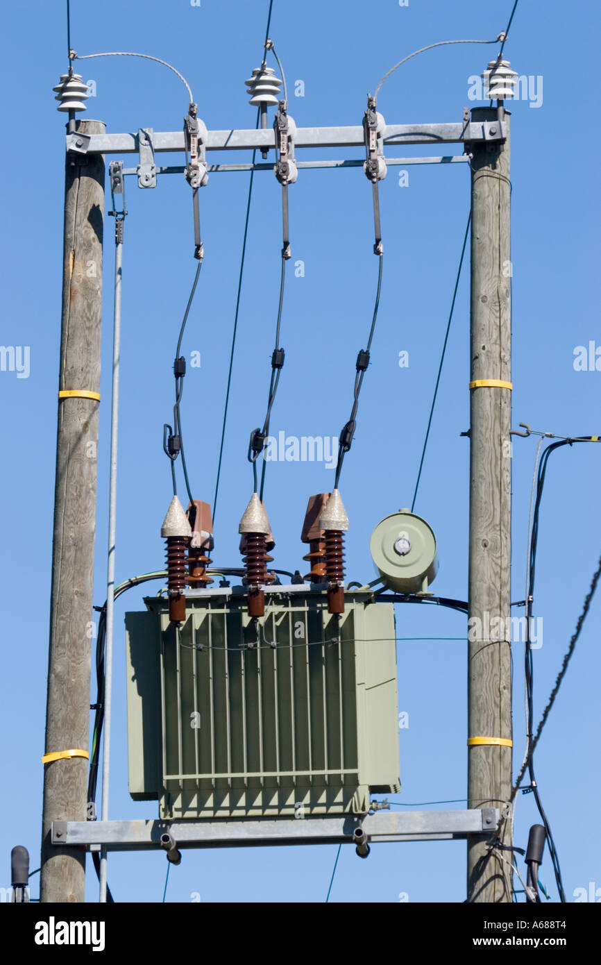 hight resolution of small step down transformer connected to 110 kilovolt power lines transforms voltage down to
