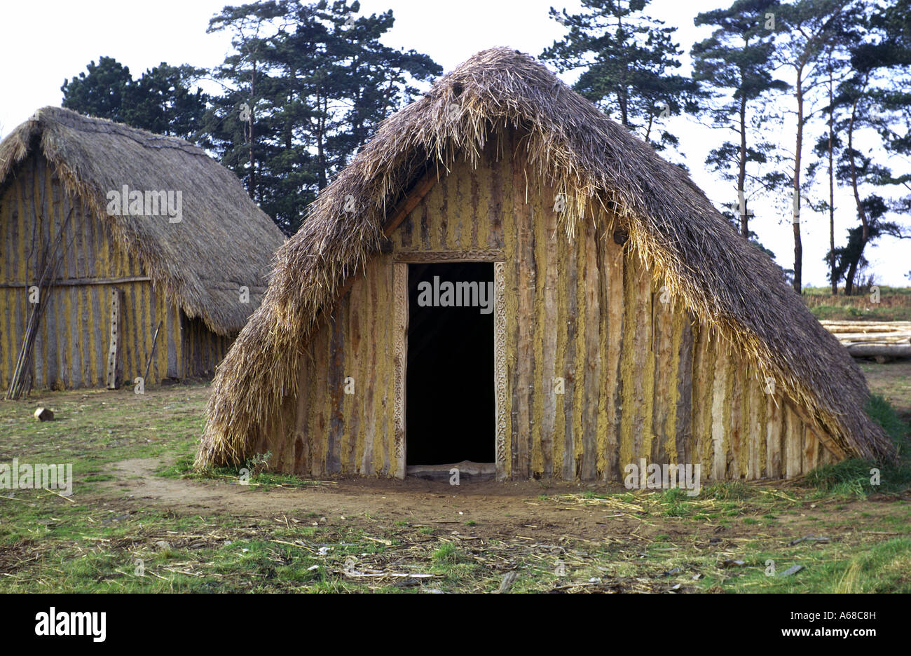 Reconstructed Anglo Saxon House Stock Photo