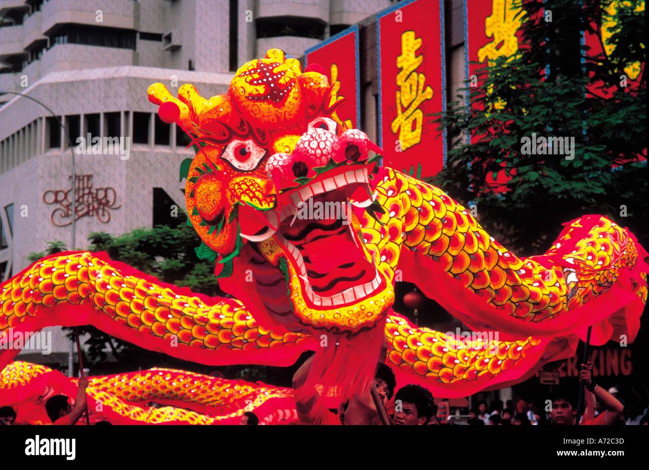 chinese dragons dancing at