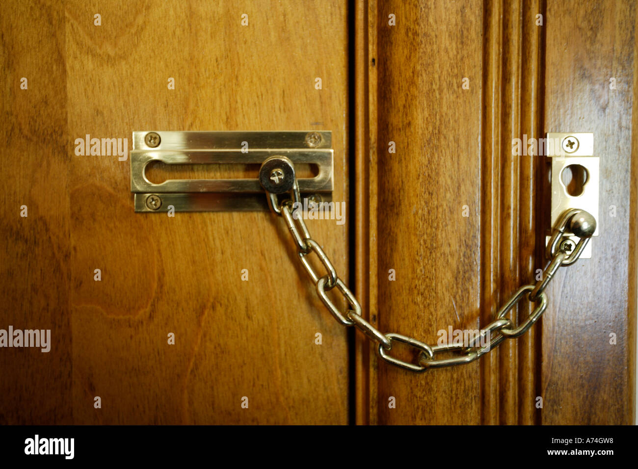 Locked Door With Chain Lock Stock Photo, Royalty Free